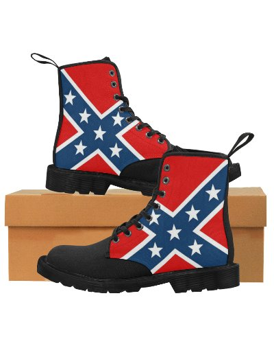 Confederate Battle Flag canvas high-top boots
